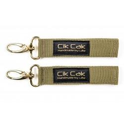 Cik Cak Stroller Clips - Golden Clip Military Green