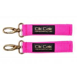 Cik Cak Stroller Clips - Brass Clip Dark Pink