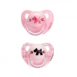 Suavinex the evolution soother silicon +6m pink Černý pes