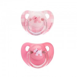 Suavinex the evolution soother silicon +6m pink Bílý pes