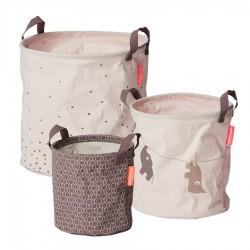 Done by Deer set měkkých odkládacích košíků Balloon 3ks Růžová