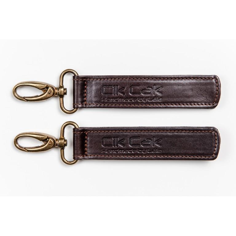 Cik Cak Leather Stroller Clips - Silver Clip