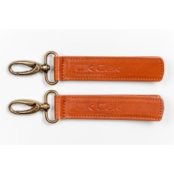 Cik Cak Leather Stroller Clips - Silver Clip Brown
