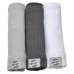 Lodger Swaddler Solid plena 70x70cm balení 3ks Mist/Carbon/White