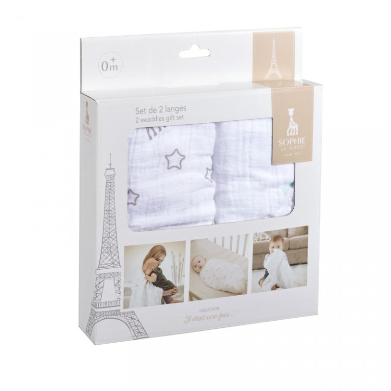 Vulli Two Sophie la girafe® Swaddles gift set