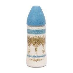 Suavinex wide nech bottle 3p silicone teat 270ml Světle modrá