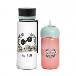 AS YOU Suavinex láhev s brčkem + láhev Aqua Růžová