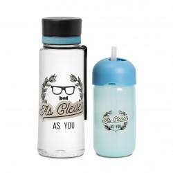 AS YOU Suavinex láhev s brčkem + láhev Aqua Modrá