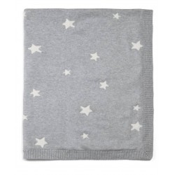 Mamas & Papas Cotton Knitted Blanket Grey Star