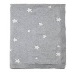 Mamas & Papas pletená deka Hvězdy šedá 70x90 cm