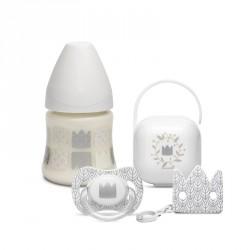 Suavinex IN&OUT SWAN SET láhev 150 3P+dudlík+klip+krabička Labuť