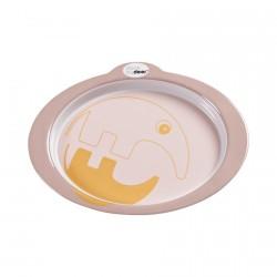 Done by Deer protiskluzový talíř s úchyty Contour 24cm Růžová/zlatá
