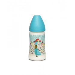 Suavinex wide nech bottle 3p silicone teat 270ml Modrý páv