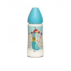 Suavinex wide nech bottle 3p silicone teat 360ml Modrý páv