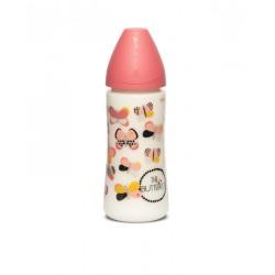 Suavinex wide nech bottle 3p silicone teat 360ml Růžový motýů