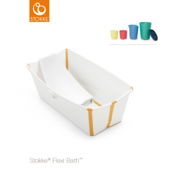 Stokke Flexi Bath + Flexi Bath Support + Set of Toys White Yellow