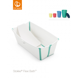 Stokke Flexi Bath + Flexi Bath Support + Set of Toys White Aqua