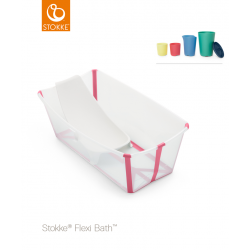Stokke Flexi Bath + Flexi Bath Support + Set of Toys Transparen Pink