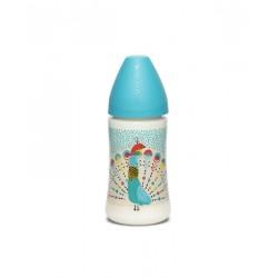 Suavinex láhev se širokým hrdlem 270ml latex Modrý páv