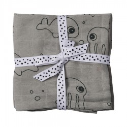 Done by Deer burp cloth 2-pack Sea Friends 70x70cm
