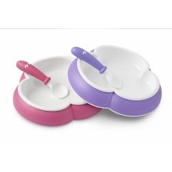 BabyBjörn sada 2 talířků 15cm se lžičkou Pink/Purple