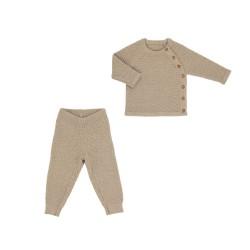 Voksi merino sweater + trousers Honeycomb 62-68