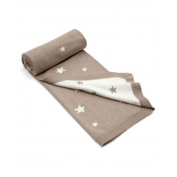 Mamas & Papas small knitted blanket Star Brown