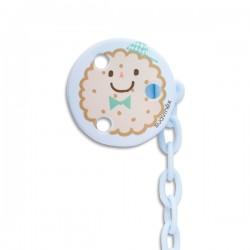 Suavinex klip na dudlík s řetízkem kulatý Modrá sušenka