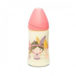 Suavinex láhev se širokým hrdlem 270ml silikon Růžový indián